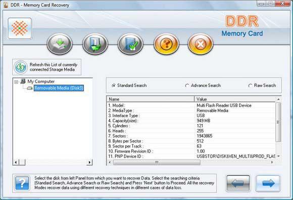 Sony Memory Stick Rescue Program screen shot