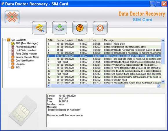 Sim Card SMS Rescue Software screen shot